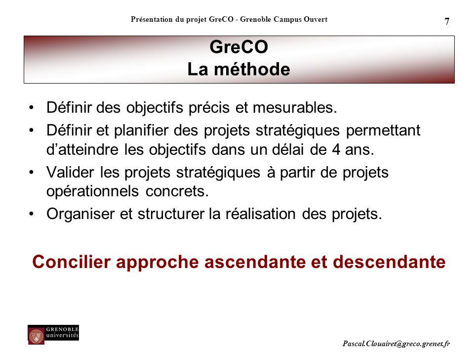 Pascal.Clouairet@greco.grenet.fr Présentation du projet GreCO - Grenoble Campus Ouvert 7 GreCO La méthode Définir des objectifs précis et mesurables.