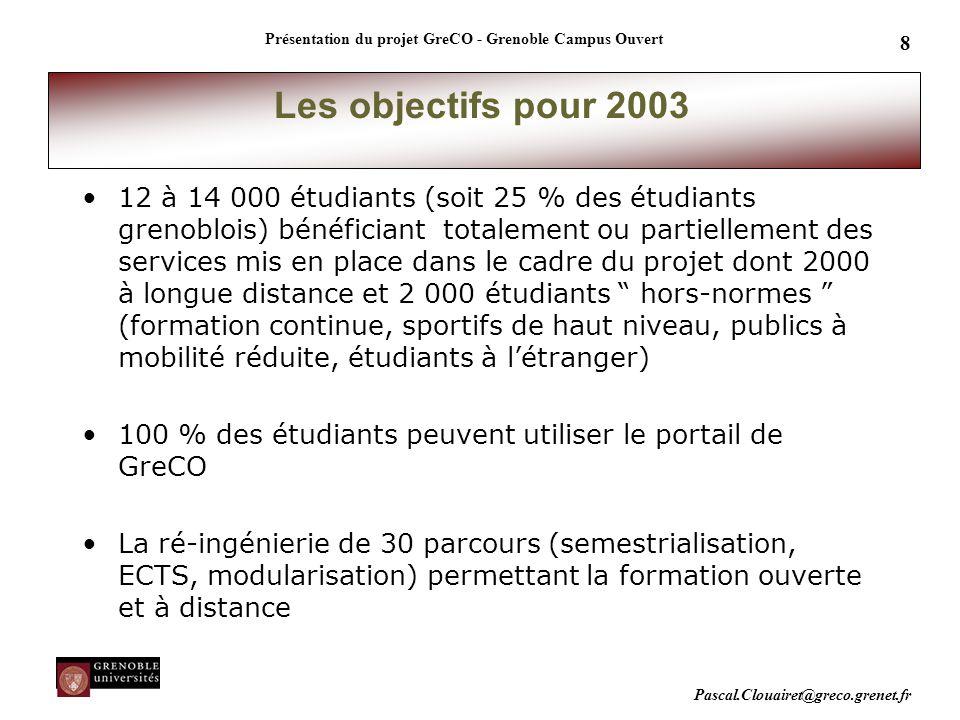 Pascal.Clouairet@greco.grenet.fr Présentation du projet GreCO - Grenoble Campus Ouvert 8 Les objectifs pour 2003 12 à 14 000 étudiants (soit 25 % des