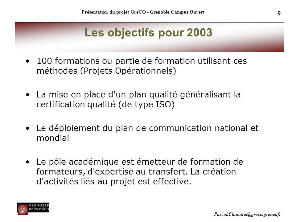 Pascal.Clouairet@greco.grenet.fr Présentation du projet GreCO - Grenoble Campus Ouvert 9 100 formations ou partie de formation utilisant ces méthodes
