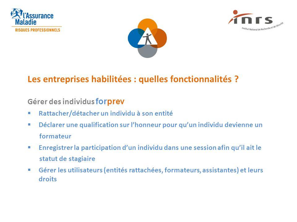 Les entreprises habilitées : quelles fonctionnalités ? Gérer des individus forprev  Rattacher/détacher un individu à son entité  Déclarer une qualif