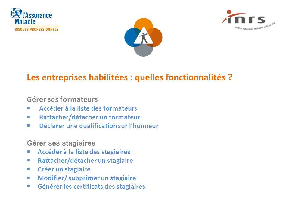 Les entreprises habilitées : quelles fonctionnalités ? Gérer ses formateurs  Accéder à la liste des formateurs  Rattacher/détacher un formateur  Dé
