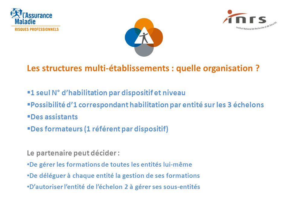 Les structures multi-établissements : quelle organisation ?  1 seul N° d'habilitation par dispositif et niveau  Possibilité d'1 correspondant habili