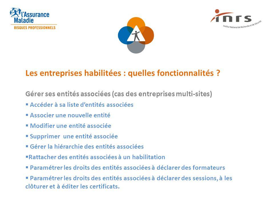 Les entreprises habilitées : quelles fonctionnalités ? Gérer ses entités associées (cas des entreprises multi-sites)  Accéder à sa liste d'entités as