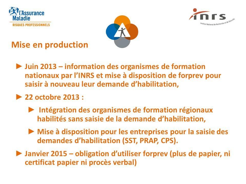 ► Juin 2013 – information des organismes de formation nationaux par l'INRS et mise à disposition de forprev pour saisir à nouveau leur demande d'habil