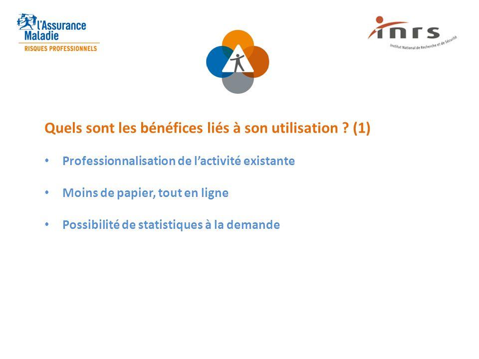 Quels sont les bénéfices liés à son utilisation ? (1) Professionnalisation de l'activité existante Moins de papier, tout en ligne Possibilité de stati