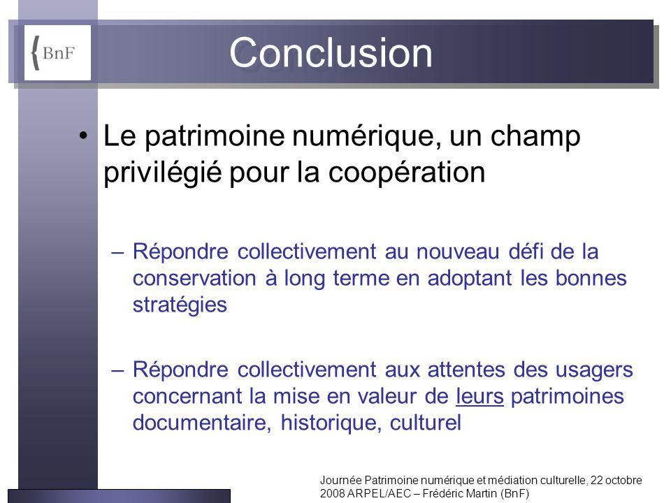 Journée Patrimoine numérique et médiation culturelle, 22 octobre 2008 ARPEL/AEC – Frédéric Martin (BnF) Conclusion Le patrimoine numérique, un champ p