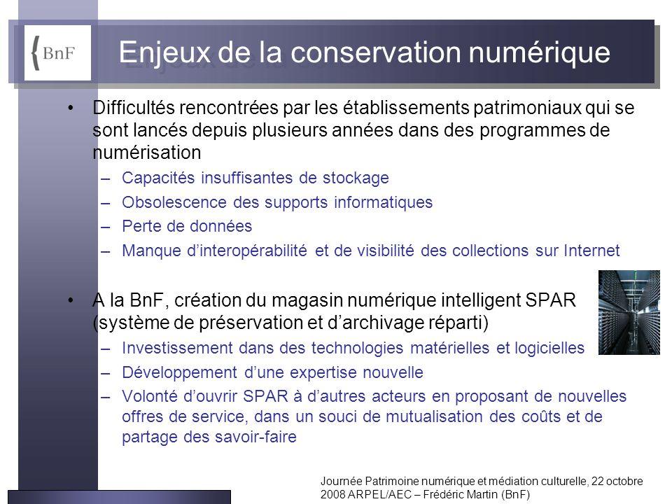 Journée Patrimoine numérique et médiation culturelle, 22 octobre 2008 ARPEL/AEC – Frédéric Martin (BnF) Enjeux de la conservation numérique Difficulté