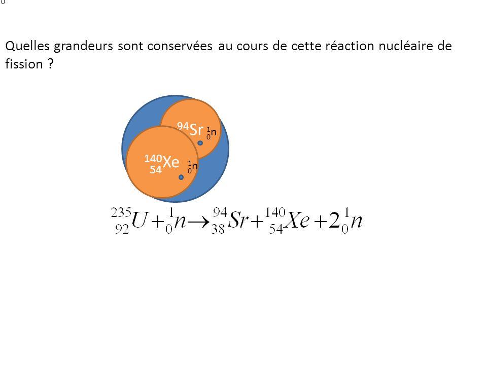235 U 1n1n 0 92 94 Sr 38 140 Xe 54 1n1n 0 1n1n 0 Quelles grandeurs sont conservées au cours de cette réaction nucléaire de fission ?
