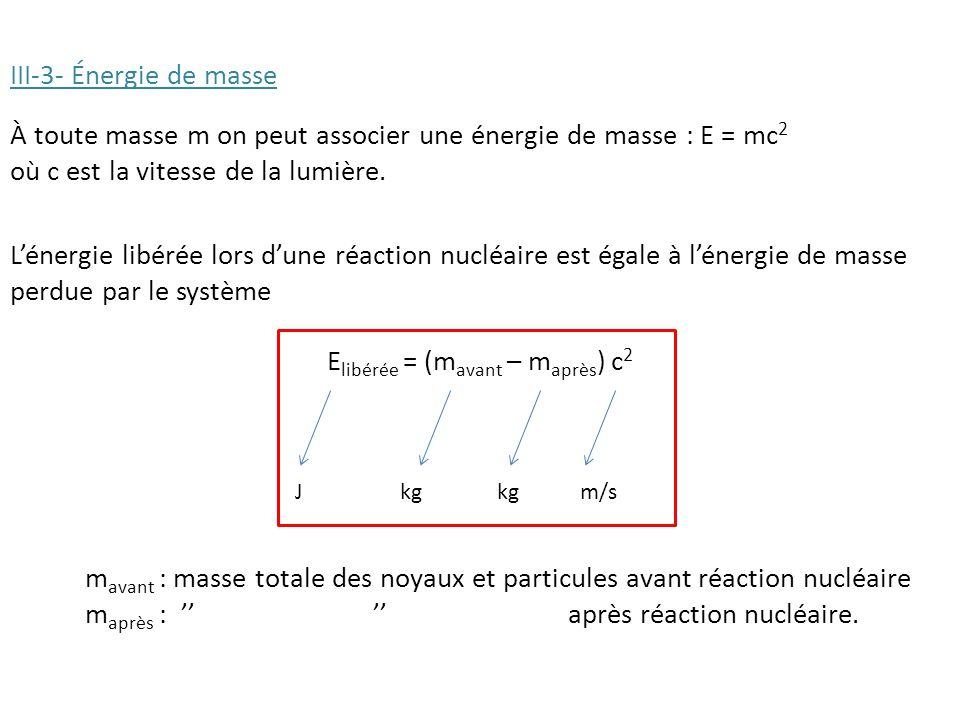 III-3- Énergie de masse À toute masse m on peut associer une énergie de masse : E = mc 2 où c est la vitesse de la lumière.