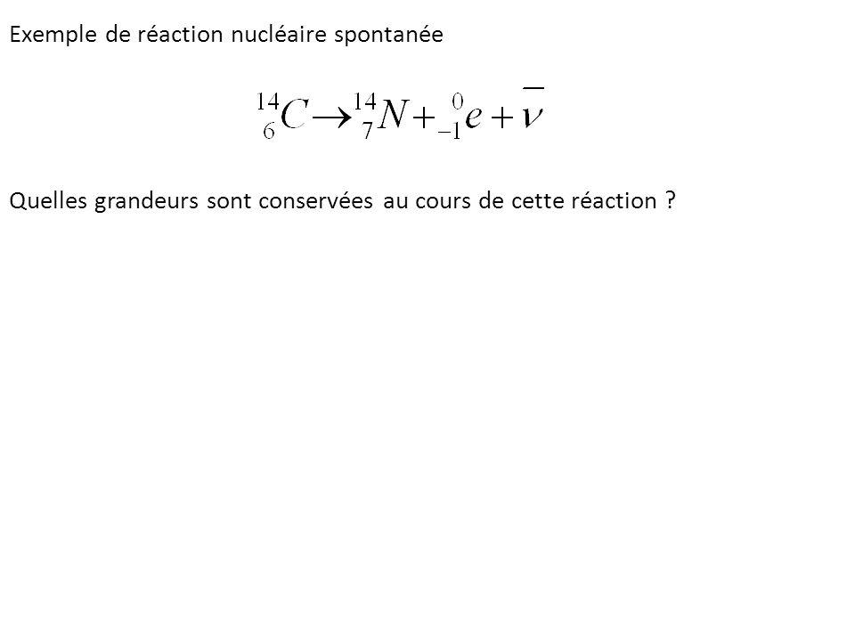 Exemple de réaction nucléaire spontanée Quelles grandeurs sont conservées au cours de cette réaction ?