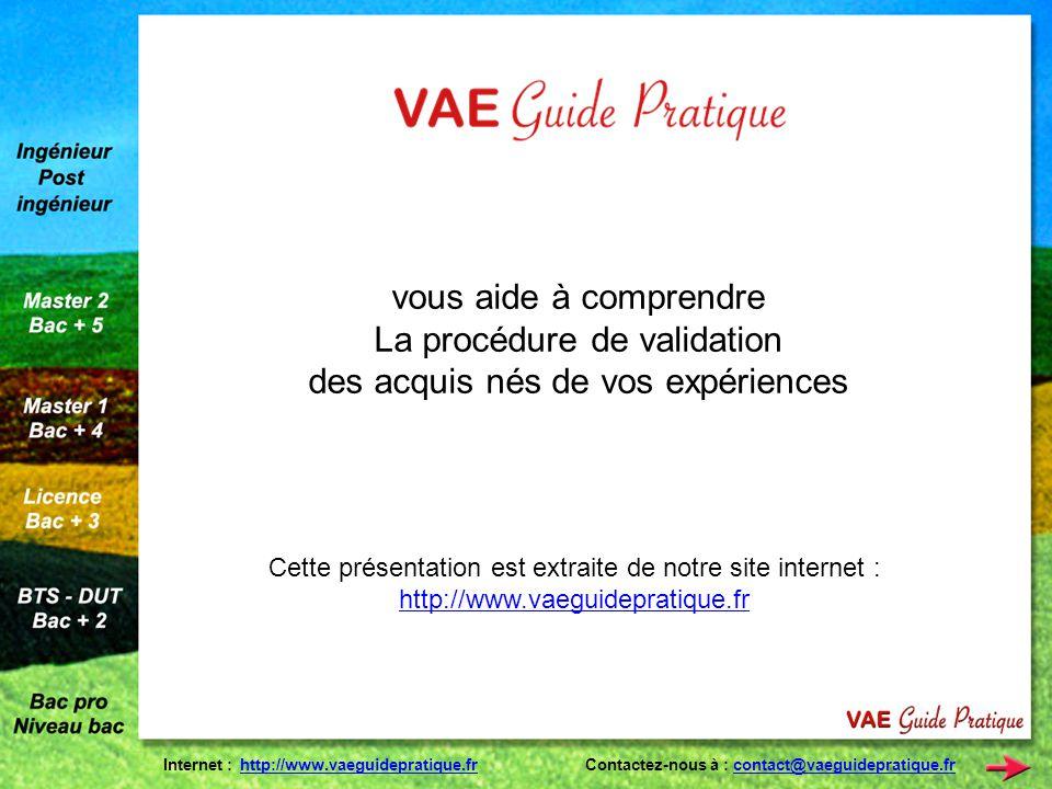 vous aide à comprendre La procédure de validation des acquis nés de vos expériences Cette présentation est extraite de notre site internet : http://www.vaeguidepratique.fr Contactez-nous à : contact@vaeguidepratique.frcontact@vaeguidepratique.frInternet : http://www.vaeguidepratique.frhttp://www.vaeguidepratique.fr