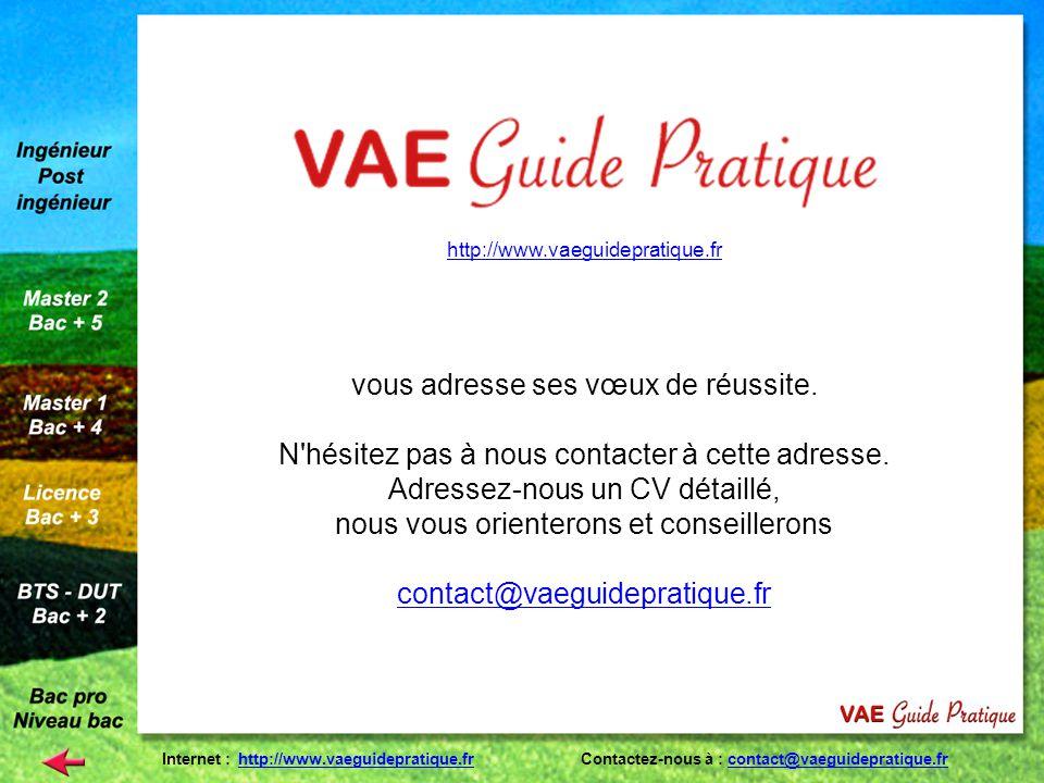http://www.vaeguidepratique.fr vous adresse ses vœux de réussite. N'hésitez pas à nous contacter à cette adresse. Adressez-nous un CV détaillé, nous v