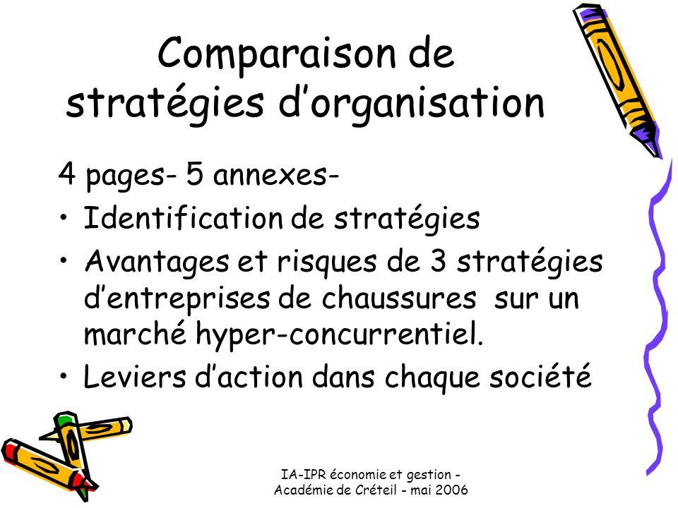 IA-IPR économie et gestion - Académie de Créteil - mai 2006 Comparaison de stratégies d'organisation 4 pages- 5 annexes- Identification de stratégies Avantages et risques de 3 stratégies d'entreprises de chaussures sur un marché hyper-concurrentiel.
