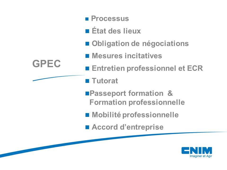 GPEC Processus État des lieux Obligation de négociations Mesures incitatives Entretien professionnel et ECR Tutorat Passeport formation & Formation professionnelle Mobilité professionnelle Accord d'entreprise