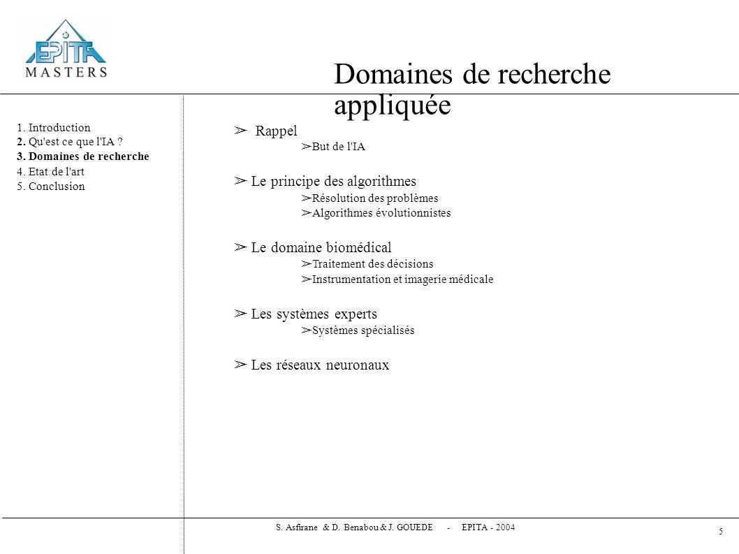 Domaines de recherche appliquée 1.Introduction 2.
