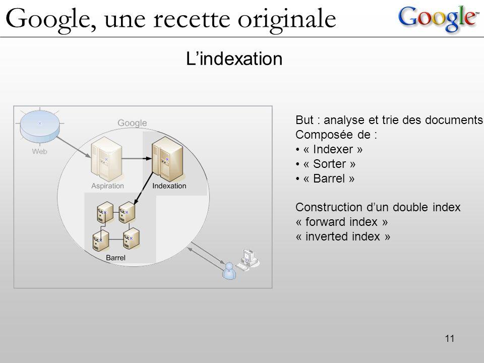 11 L'indexation But : analyse et trie des documents Composée de : « Indexer » « Sorter » « Barrel » Construction d'un double index « forward index » « inverted index » Google, une recette originale
