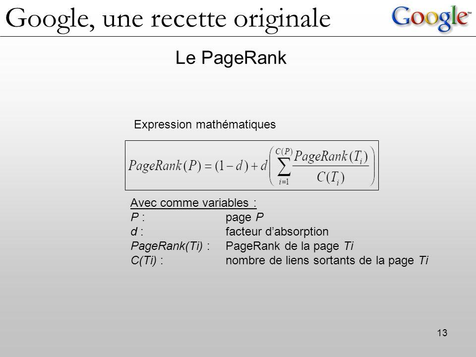 13 Le PageRank Expression mathématiques Avec comme variables : P : page P d : facteur d'absorption PageRank(Ti) :PageRank de la page Ti C(Ti) : nombre