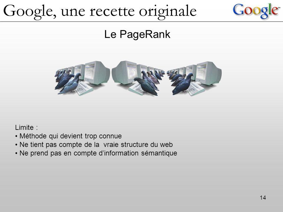 14 Le PageRank Limite : Méthode qui devient trop connue Ne tient pas compte de la vraie structure du web Ne prend pas en compte d'information sémantiq