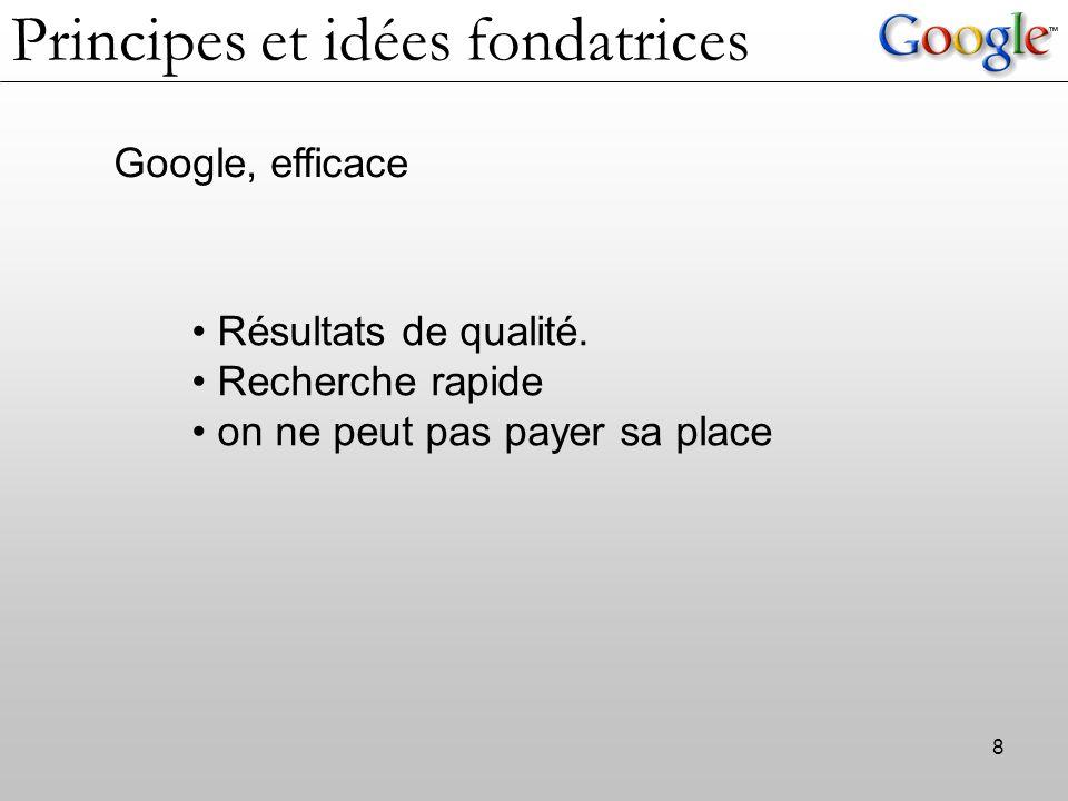 8 Google, efficace Résultats de qualité. Recherche rapide on ne peut pas payer sa place Principes et idées fondatrices