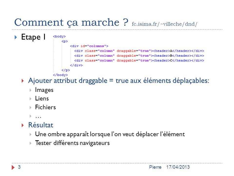 Comment ça marche ? fc.isima.fr/~villeche/dnd/ 17/04/2013Pierre3  Etape 1  Ajouter attribut draggable = true aux éléments déplaçables:  Images  Li