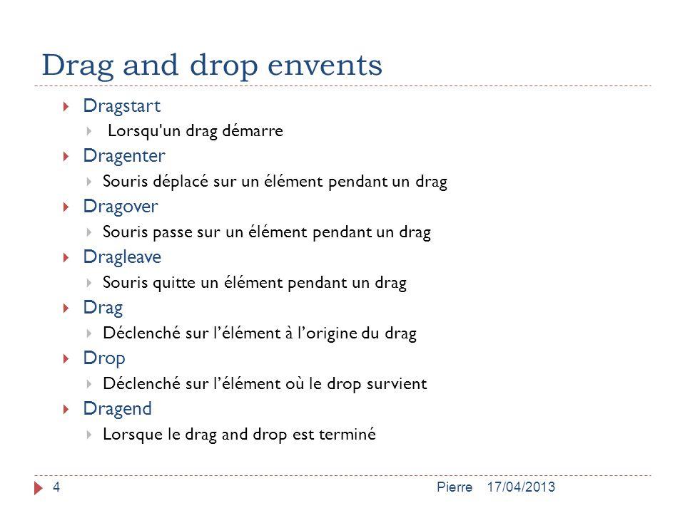 Drag and drop envents 17/04/2013Pierre4  Dragstart  Lorsqu'un drag démarre  Dragenter  Souris déplacé sur un élément pendant un drag  Dragover 