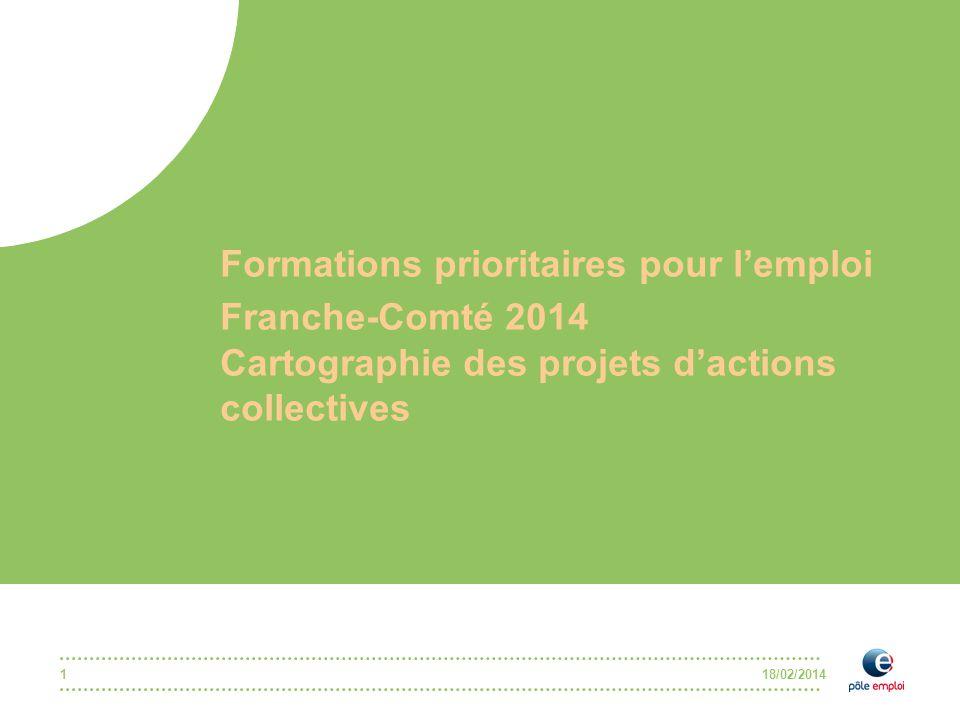 18/02/2014 Formations prioritaires pour l'emploi Franche-Comté 2014 Cartographie des projets d'actions collectives 1