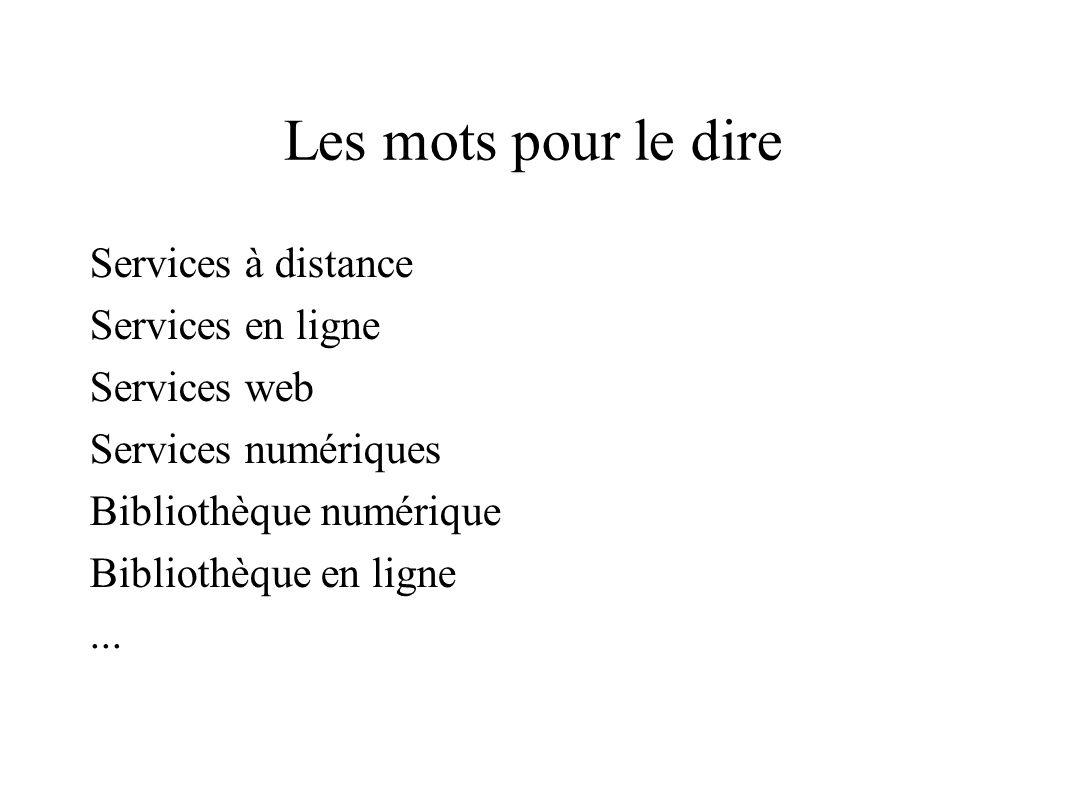 Les mots pour le dire Services à distance Services en ligne Services web Services numériques Bibliothèque numérique Bibliothèque en ligne...