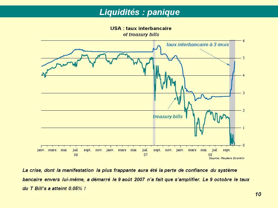 10 La crise, dont la manifestation la plus frappante aura été la perte de confiance du système bancaire envers lui-même, a démarré le 9 août 2007 n'a fait que s'amplifier.
