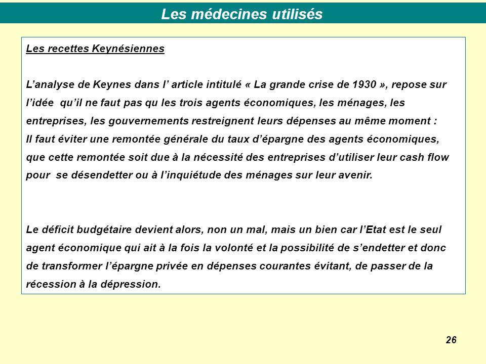 26 Les recettes Keynésiennes L'analyse de Keynes dans l' article intitulé « La grande crise de 1930 », repose sur l'idée qu'il ne faut pas qu les troi
