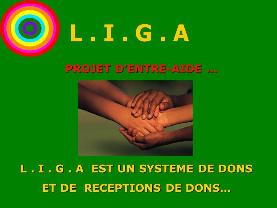 PROJET D'ENTRE-AIDE... L. I. G. A EST UN SYSTEME DE DONS ET DE RECEPTIONS DE DONS... L. I. G. A