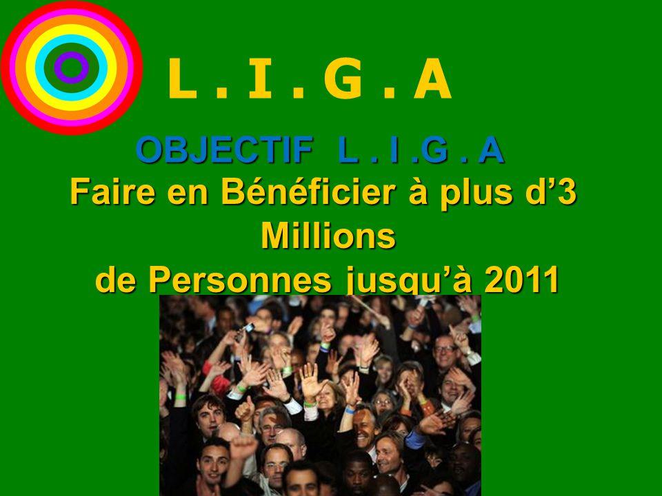 Faire en Bénéficier à plus d'3 Millions Millions de Personnes jusqu'à 2011 de Personnes jusqu'à 2011 OBJECTIF L. I.G. A L. I. G. A