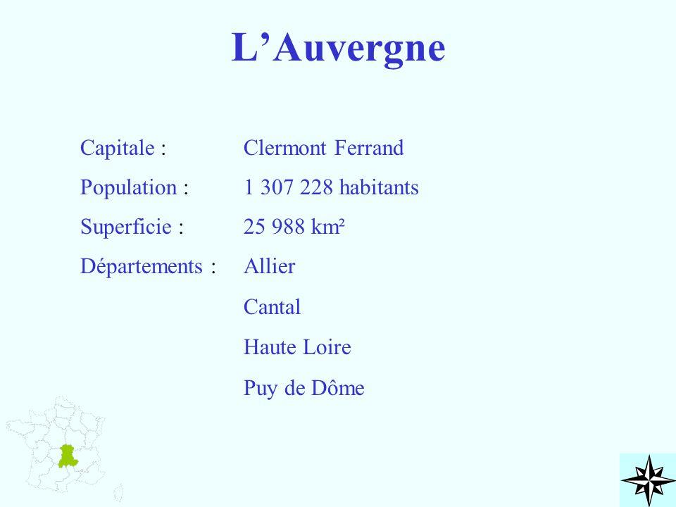 L'Auvergne Capitale : Population : Superficie : Départements : Clermont Ferrand 1 307 228 habitants 25 988 km² Allier Cantal Haute Loire Puy de Dôme