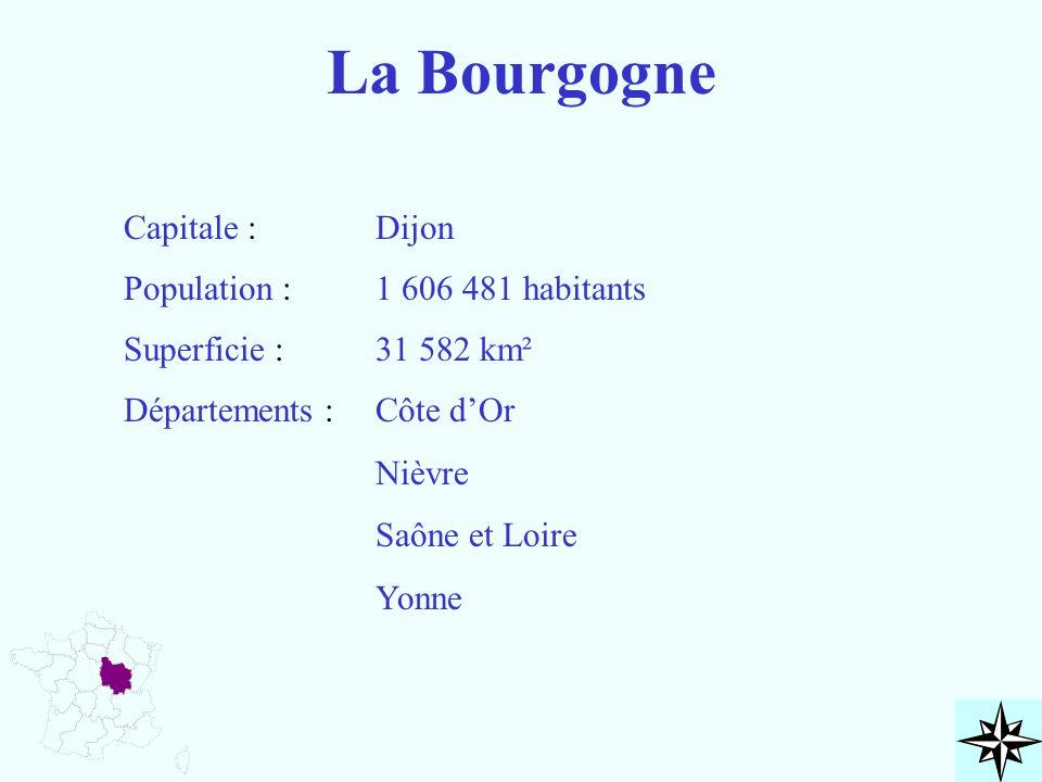 La Bourgogne Capitale : Population : Superficie : Départements : Dijon 1 606 481 habitants 31 582 km² Côte d'Or Nièvre Saône et Loire Yonne