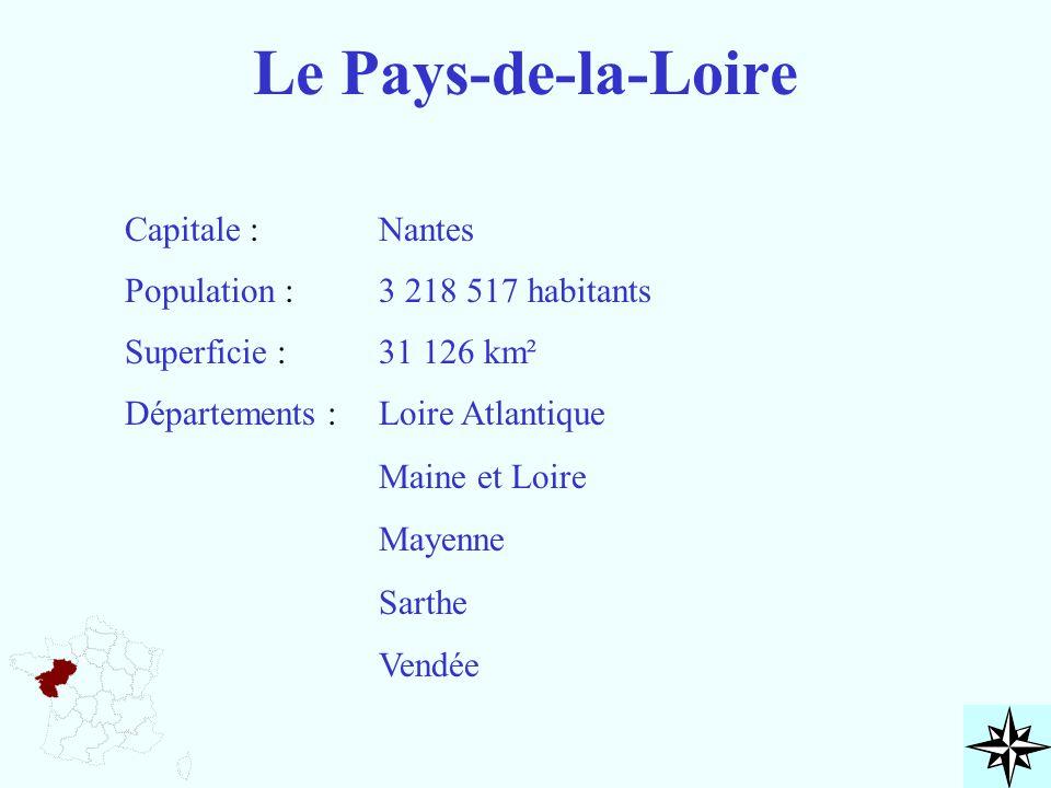 Le Pays-de-la-Loire Capitale : Population : Superficie : Départements : Nantes 3 218 517 habitants 31 126 km² Loire Atlantique Maine et Loire Mayenne