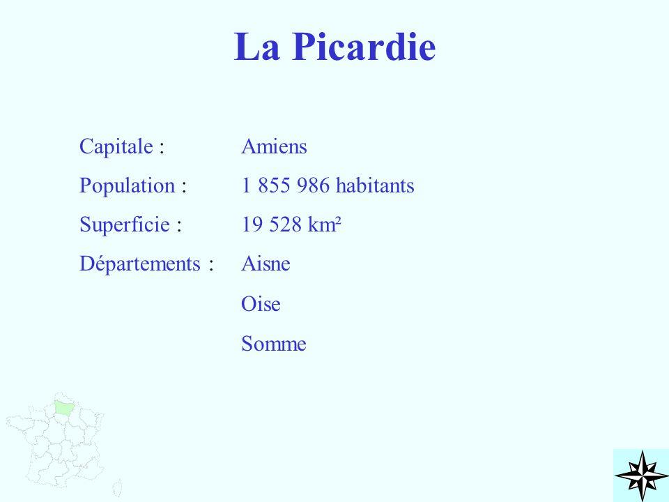 La Picardie Capitale : Population : Superficie : Départements : Amiens 1 855 986 habitants 19 528 km² Aisne Oise Somme