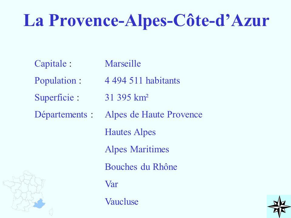 La Provence-Alpes-Côte-d'Azur Capitale : Population : Superficie : Départements : Marseille 4 494 511 habitants 31 395 km² Alpes de Haute Provence Hau