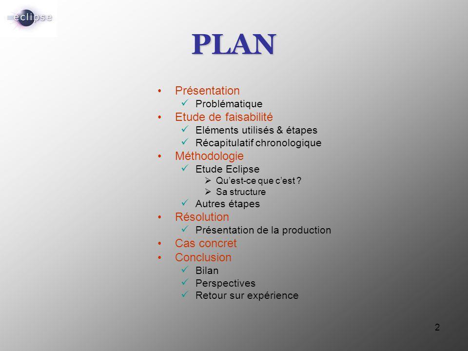 2 PLAN Présentation Problématique Etude de faisabilité Eléments utilisés & étapes Récapitulatif chronologique Méthodologie Etude Eclipse  Qu'est-ce q