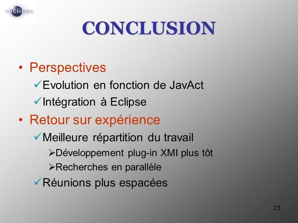 23 CONCLUSION Perspectives Evolution en fonction de JavAct Intégration à Eclipse Retour sur expérience Meilleure répartition du travail  Développemen