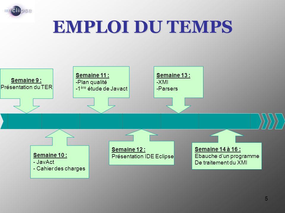 5 EMPLOI DU TEMPS Semaine 9 : Présentation du TER Semaine 11 : -Plan qualité -1 ère étude de Javact Semaine 13 : -XMI -Parsers Semaine 10 : - JavAct -