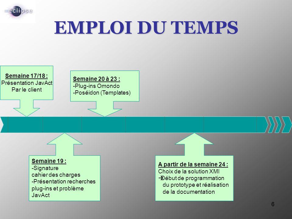 6 EMPLOI DU TEMPS Semaine 17/18 : Présentation JavAct Par le client Semaine 20 à 23 : -Plug-ins Omondo -Poséidon (Templates) Semaine 19 : -Signature c