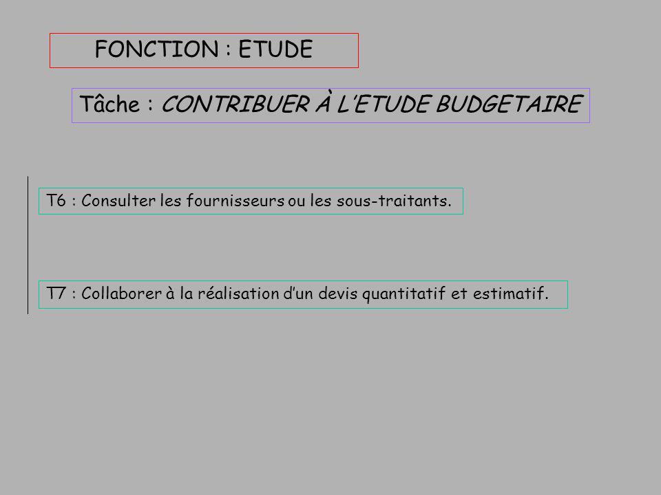 FONCTION : ETUDE Tâche : PARTICIPER À L'ETUDE TECHNIQUE T1 : Participer à la préparation de l'étude. T5 : Réaliser les schémas et les plans. T4 : Dime
