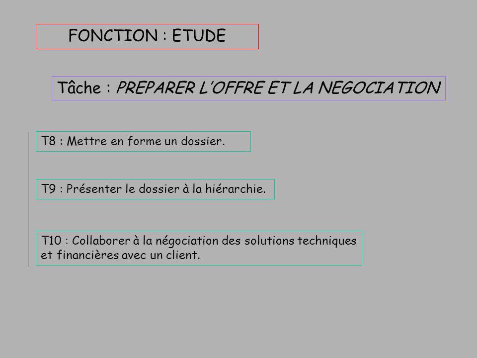 FONCTION : ETUDE Tâche : CONTRIBUER À L'ETUDE BUDGETAIRE T6 : Consulter les fournisseurs ou les sous-traitants. T7 : Collaborer à la réalisation d'un