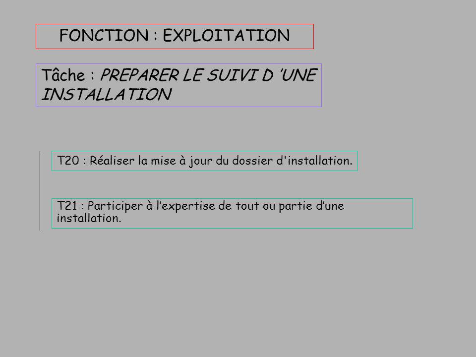 FONCTION : EXPLOITATION 3 tâches : Qui se subdivisent : OPTIMISER UN FONCTIONNEMENT PREPARER LE SUIVI D 'UNE INSTALLATION INTERVENIR SUR UNE INSTALLAT