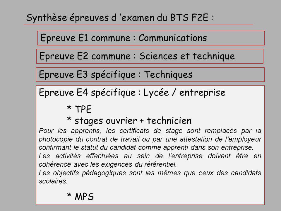 Référentiel du BTS F2E Activités professionnelles en cours et relations avec les épreuves d 'examen