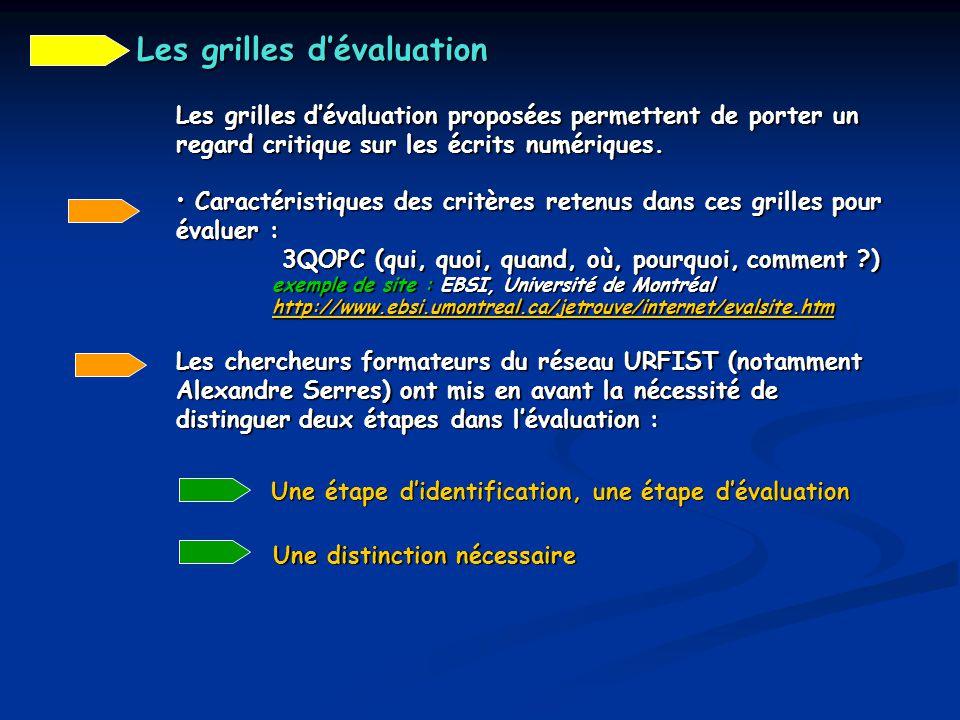 Les grilles d'évaluation proposées permettent de porter un regard critique sur les écrits numériques. Caractéristiques des critères retenus dans ces g