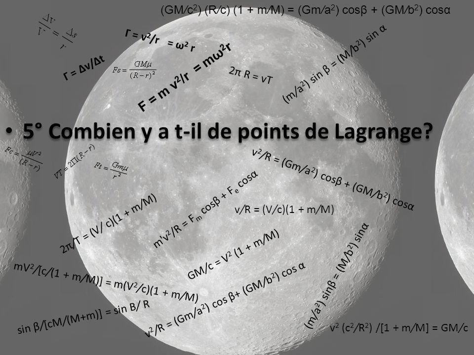 5° Combien y a t-il de points de Lagrange.