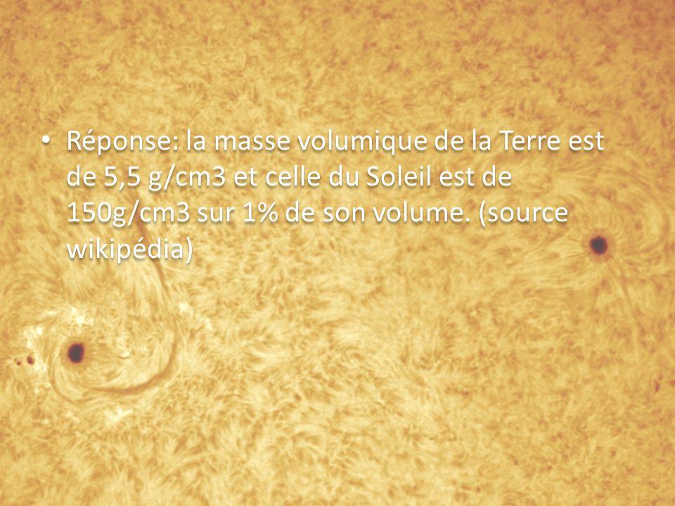 Réponse: la masse volumique de la Terre est de 5,5 g/cm3 et celle du Soleil est de 150g/cm3 sur 1% de son volume.