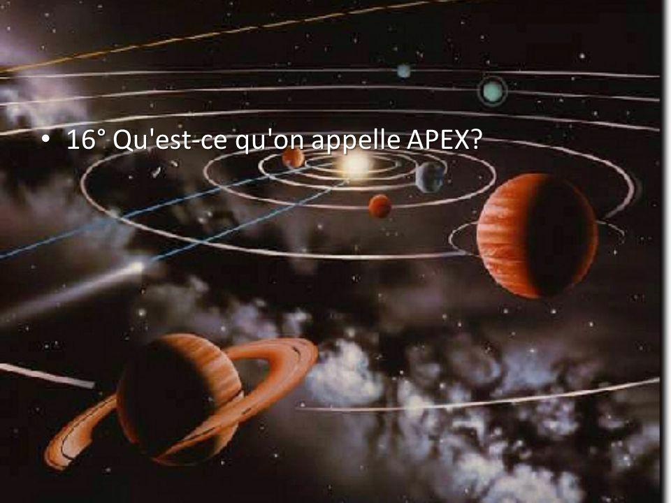 16° Qu est-ce qu on appelle APEX? 16° Qu est-ce qu on appelle APEX?