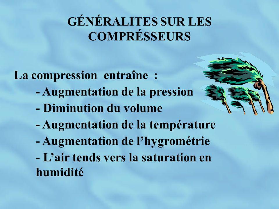GÉNÉRALITES SUR LES COMPRÉSSEURS La compression entraîne : - Augmentation de la pression - Diminution du volume - Augmentation de la température - Aug