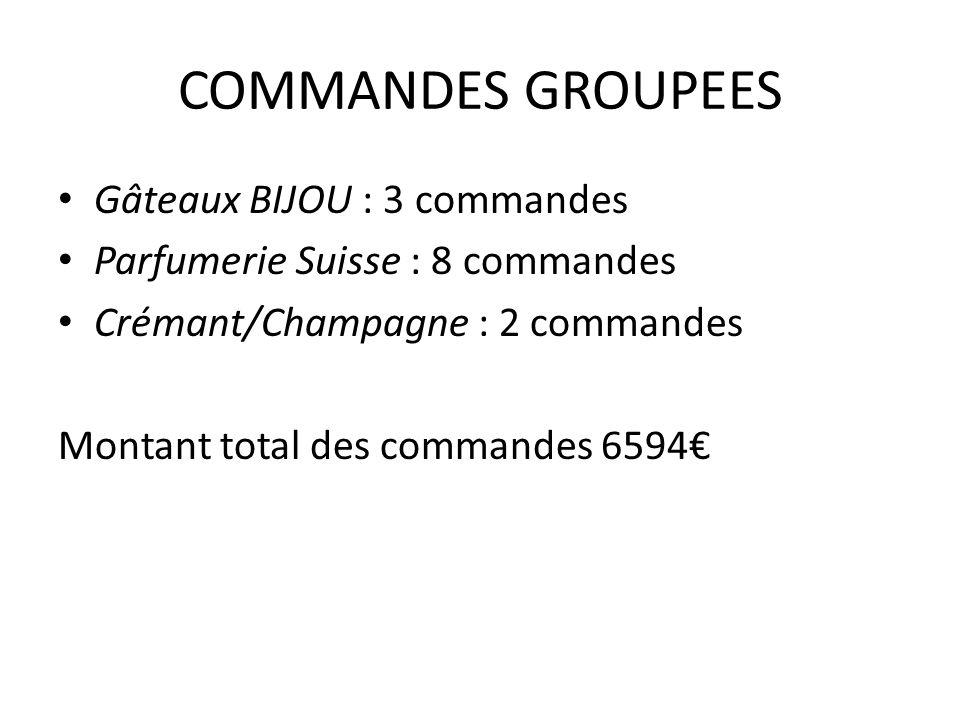 COMMANDES GROUPEES Gâteaux BIJOU : 3 commandes Parfumerie Suisse : 8 commandes Crémant/Champagne : 2 commandes Montant total des commandes 6594€
